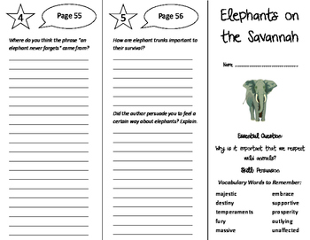 Elephants on the Savannah Trifold - Journeys 6th Grade Uni