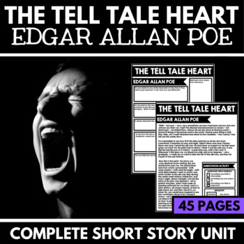 Tell Tale Heart by Edgar Allan Poe Short Story Unit with Questions and Project