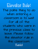 Elevator Rule Classroom Poster- Blue