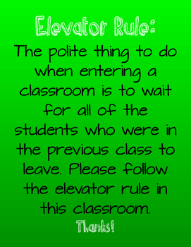 Elevator Rule Classroom Poster- Green