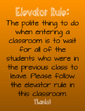 Elevator Rule Classroom Poster- Orange