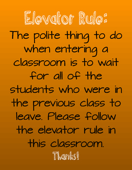 Elevator Rule Classroom Poster- Orange