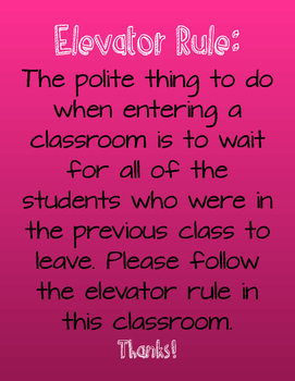 Elevator Rule Classroom Poster- Pink