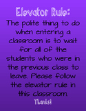 Elevator Rule Classroom Poster- Purple