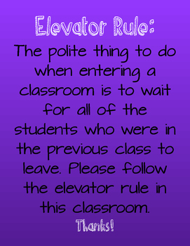 Elevator Rule Classroom Poster- Purple