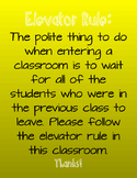 Elevator Rule Classroom Poster- Yellow