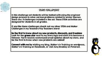 Eleven Winter STEM Challenges BUNDLE with Teacher Notes & Student Sheets