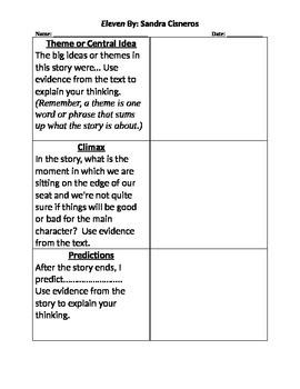 Eleven by Sandra Cisneros - Activity - Plot, Theme, Main Idea - Journal