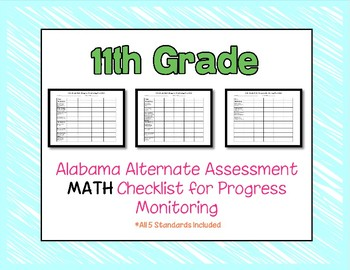 Eleventh Grade AAA Math Checklist Progress Monitoring