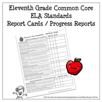 Eleventh Grade ELA Common Core Progress Report / Chart