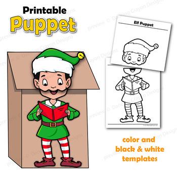Christmas Elf Craft Printable Paper Bag Puppet Template Tpt