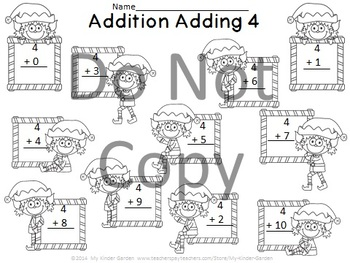 Elf Addition Adding 0-10 Math Worksheets