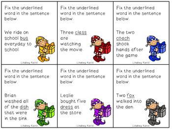 Elf Antics Plural Nouns {FREEBIE}