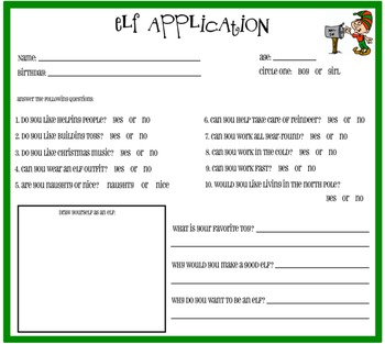 Elf Application {For Students To Fill Out}