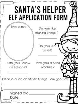 Elf Application and Craftivity