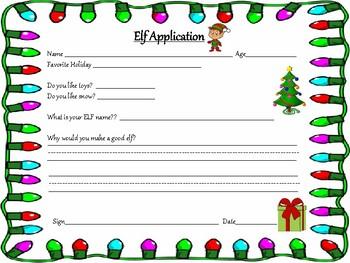 Elf Application writing Christmas holiday
