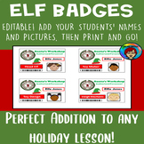 Elf Badge, Santa's Workshop Badges, Elf Jobs, Holiday Classroom Transformation