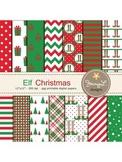 Elf Christmas Digital Papers, Christmas Tree Papers, Christmas gifts Papers