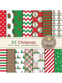 Elf Christmas Digital Papers, Christmas Tree Papers, Chris