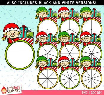 Elf Spinners Christmas Clip Art