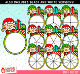 Elf Spinners Christmas Clip Art