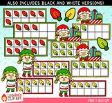 Elf Christmas Ten Frames Clip Art