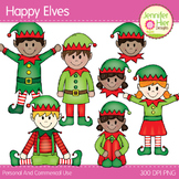 Elf Clip Art:  Happy Elves Clipart