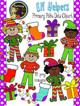 Elf Clip Art {Primary Polka Dots Clip Art}
