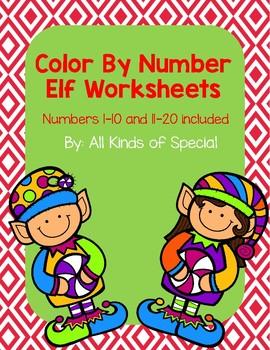 Elf Color By Number Packet