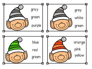 Elf Color Sight Word Clip Cards