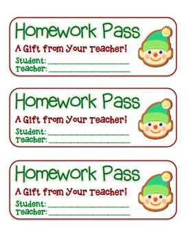 """Elf Cookie"" Homework Pass –Holiday FUN! (full color & black line version)"