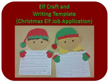 Elf Craft and Writing Template (Christmas Elf Job Application