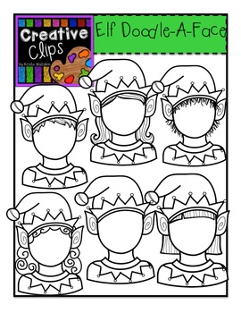 Elf Doodle-A-Face {Creative Clips Digital Clipart}
