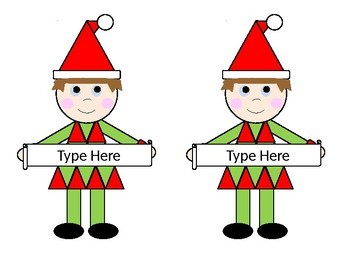 Elf Editable Labels Christmas Holiday Can Resize text size and font