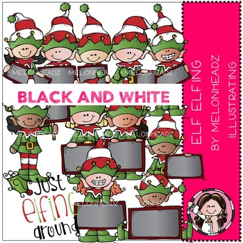 Elf Elfing clip art - BLACK AND WHITE- by Melonheadz