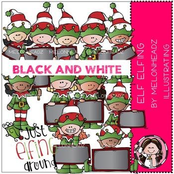 Melonheadz: Elf Elfing clip art - BLACK AND WHITE