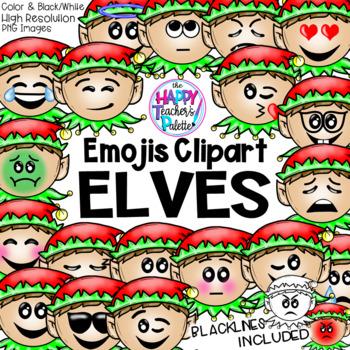 HTP Clip Art Elf Emojis {The Happy Teacher's Palette}