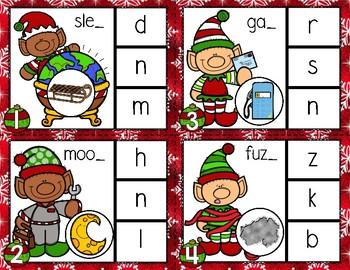 Elf Ending Sounds Christmas Clip Cards File Folder Game