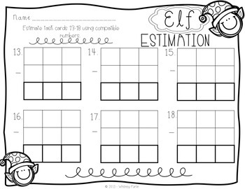 Elf Estimation {Holiday, Christmas Math Station} Math Station Printable