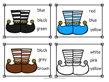 Elf Feet Color Sight Word Clip Cards