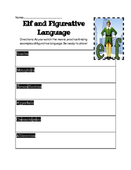 Elf Figurative Language Activity