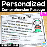Elf Free Reading Passage: PERSONALIZED Comprehension Christmas