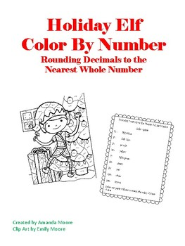 Elf Holiday Color by Number Rounding Decimals 5.NBT.A.4