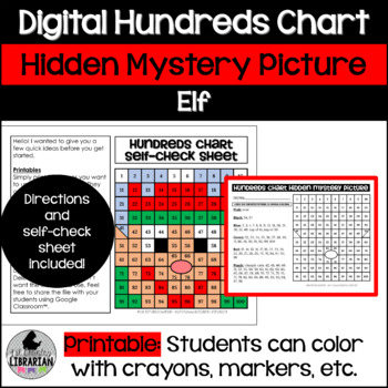 Elf Hundreds Chart Hidden Picture Activity for Math