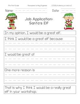 Elf Job Application: Persuasive Writing