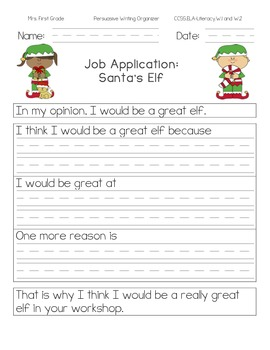 Elf Job Application: Persuasive Writing