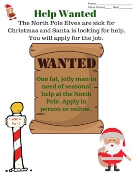 Elf Job Application and Santa Job Interview - ASL, ESL, Deaf/Hard of Hearing