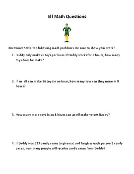 Elf Movie Questions and Math