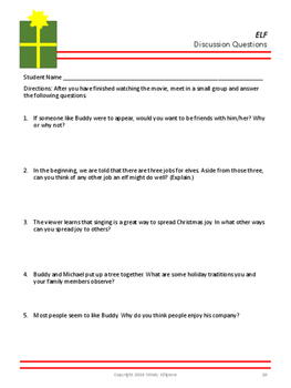 Elf- Movie Viewing Guide and Follow-Up Activities