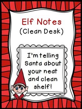 Classroom Elf Notes~ Clean Desk {Freebie}